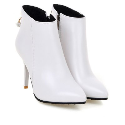 Womens Ankle Boots Vogue Solid Metal Decor Pointed Toe Cozy ShoesWomens Boots<br>Womens Ankle Boots Vogue Solid Metal Decor Pointed Toe Cozy Shoes<br><br>Boot Height: Ankle<br>Boot Tube Height: 9.5<br>Boot Type: Fashion Boots<br>Closure Type: Zip<br>Embellishment: Beading<br>Gender: For Women<br>Heel Height: 9.5<br>Heel Height Range: High(3-3.99)<br>Heel Type: Stiletto Heel<br>Package Contents: 1 x Shoes(pair)<br>Pattern Type: Solid<br>Season: Spring/Fall, Winter<br>Toe Shape: Pointed Toe<br>Upper Material: PU<br>Weight: 1.6588kg