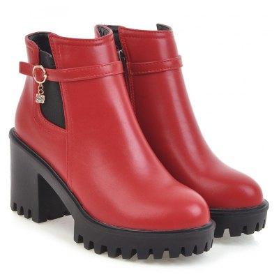 Womens Ankle Boots Buckle Rubber Sole Thick Heels Solid Color Chic BootsWomens Boots<br>Womens Ankle Boots Buckle Rubber Sole Thick Heels Solid Color Chic Boots<br><br>Boot Height: Ankle<br>Boot Tube Height: 9.5<br>Boot Type: Fashion Boots<br>Closure Type: Zip<br>Embellishment: Buckle<br>Gender: For Women<br>Heel Height: 8<br>Heel Height Range: High(3-3.99)<br>Heel Type: Chunky Heel<br>Package Contents: 1 x Shoes(pair)<br>Pattern Type: Solid<br>Platform Height: 2.5<br>Season: Spring/Fall, Winter<br>Toe Shape: Round Toe<br>Upper Material: PU<br>Weight: 1.6588kg