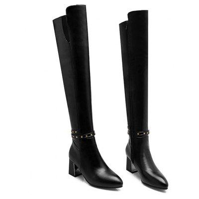 The New Style of Thick and Pointed Head European and American Style Womens BootsWomens Boots<br>The New Style of Thick and Pointed Head European and American Style Womens Boots<br><br>Boot Height: Over-the-Knee<br>Boot Tube Height: 55<br>Boot Type: Fashion Boots<br>Closure Type: Zip<br>Embellishment: Chains<br>Gender: For Women<br>Heel Height: 6.5<br>Heel Height Range: Med(1.75-2.75)<br>Heel Type: Chunky Heel<br>Outsole Material: Rubber<br>Package Contents: 1 x Shoes (pair)<br>Pattern Type: Solid<br>Season: Spring/Fall, Winter<br>Toe Shape: Pointed Toe<br>Upper Material: PU<br>Weight: 1.2320kg