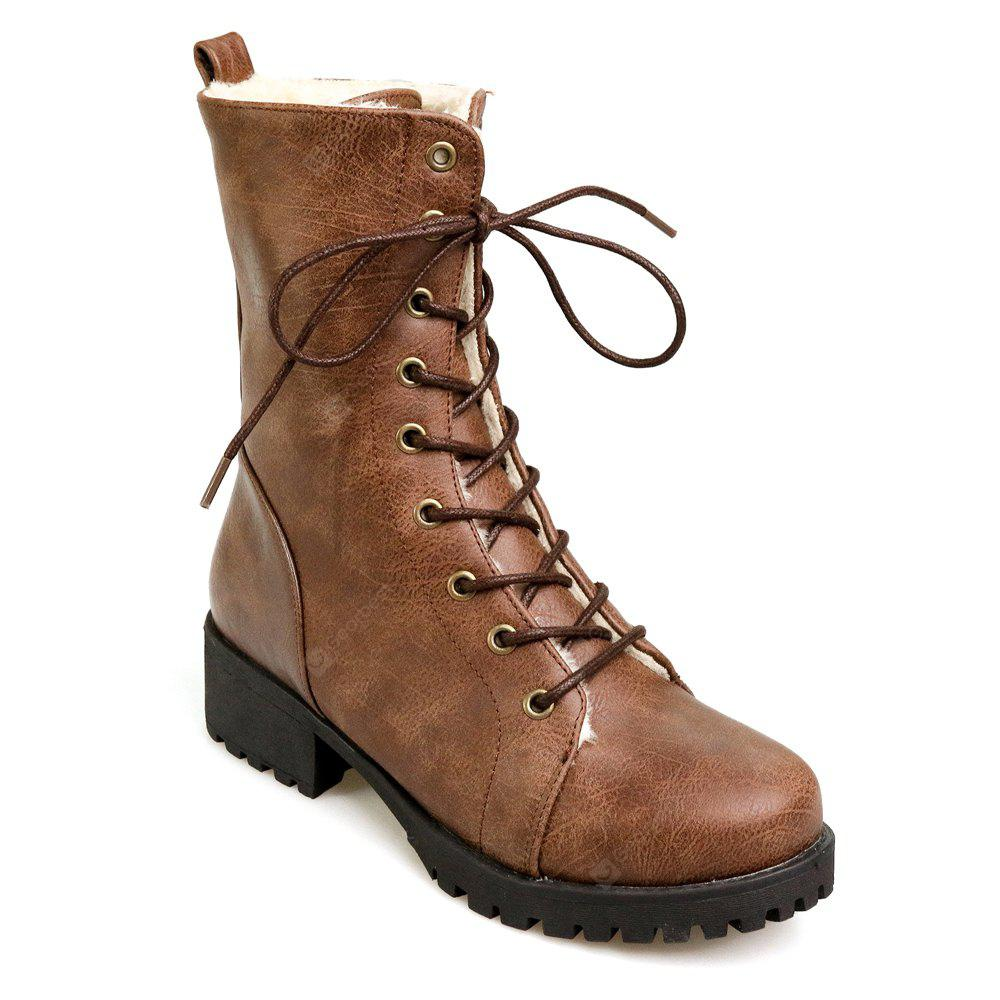 BROWN 37 Women's Martin Boots Fashion Lacing Comfy All Match Boots
