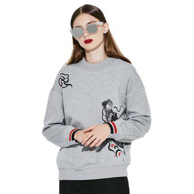 Buy HEATHER GRAY M VING O-neck Print Brief Fashion Sweatshirt Pullover Female Long Sleeve Sweatshirt for $34.92 in GearBest store