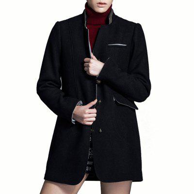 Buy BLACK L VING European Autumn Winter Single-breasted Button Stand Collar Slim Women Long Woollen Coat for $29.99 in GearBest store