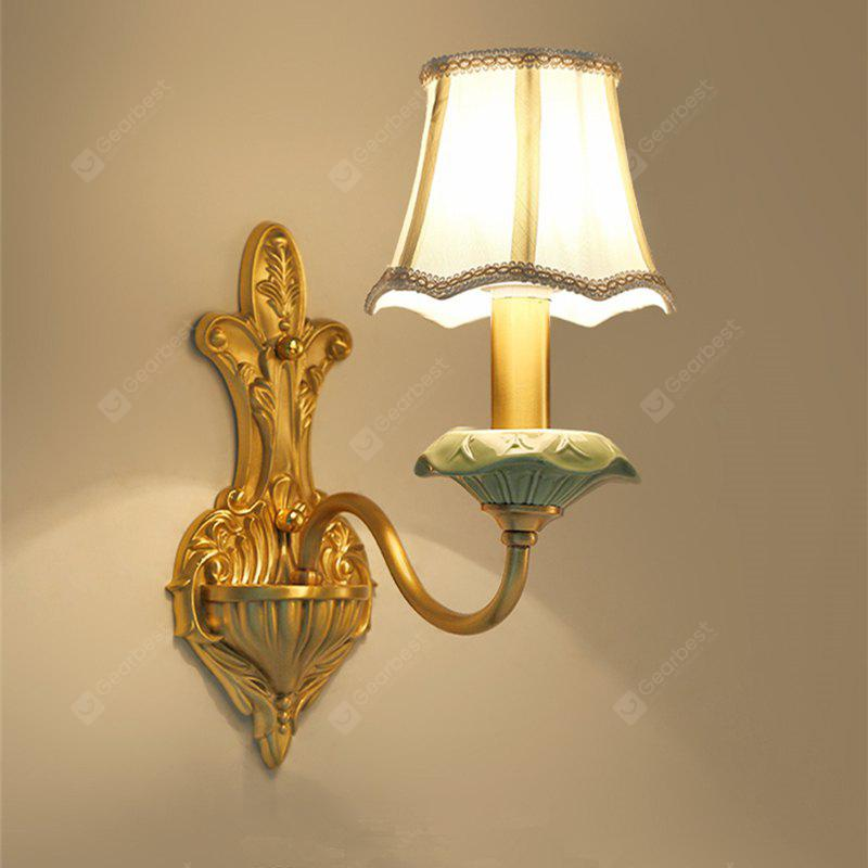 COPPER COLOR 110V ZUOGE European Style All Ceramic Copper Single Head Wall Lamp with Light Source Three Colors Switched