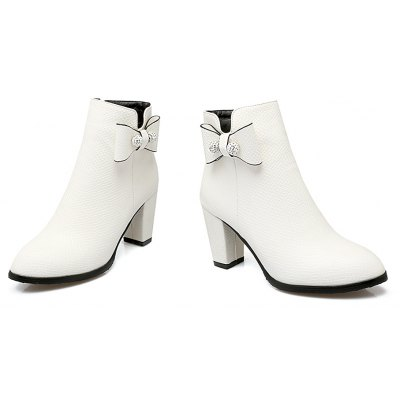 Womens Feminine Simple Style Bow Knot Decor Faddish ShoesWomens Boots<br>Womens Feminine Simple Style Bow Knot Decor Faddish Shoes<br><br>Boot Height: Ankle<br>Boot Tube Height: 11<br>Boot Type: Fashion Boots<br>Closure Type: Zip<br>Embellishment: Bow<br>Gender: For Women<br>Heel Height: 7.5<br>Heel Height Range: High(3-3.99)<br>Heel Type: Chunky Heel<br>Package Contents: 1 x Shoes(pair)<br>Pattern Type: Solid<br>Season: Spring/Fall, Winter<br>Toe Shape: Round Toe<br>Upper Material: PU<br>Weight: 1.6588kg