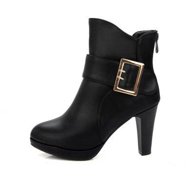 Womens Ankle Boots Round Toe Platform Thick Sole Strap Buckle Casual BootsWomens Boots<br>Womens Ankle Boots Round Toe Platform Thick Sole Strap Buckle Casual Boots<br><br>Boot Height: Ankle<br>Boot Tube Height: 11.5<br>Boot Type: Fashion Boots<br>Closure Type: Zip<br>Embellishment: Buckle<br>Gender: For Women<br>Heel Height: 9<br>Heel Height Range: High(3-3.99)<br>Heel Type: Chunky Heel<br>Package Contents: 1 x Shoes(pair)<br>Pattern Type: Solid<br>Platform Height: 2<br>Season: Spring/Fall, Winter<br>Toe Shape: Round Toe<br>Upper Material: PU<br>Weight: 1.6588kg