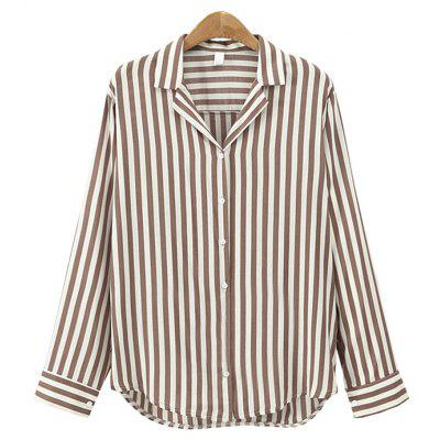 Europe and The United States Suit Collar Wild Striped Long Sleeved Shirt