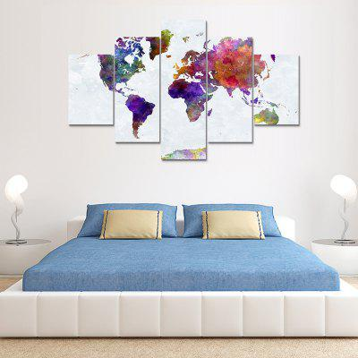Buy COLORMIX World Map Canvas Print Painting Home Wall Decor 5PCS for $20.41 in GearBest store
