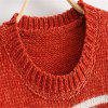 2017 New Lady's horizontal gestreifter Chenille Pullover - ROT