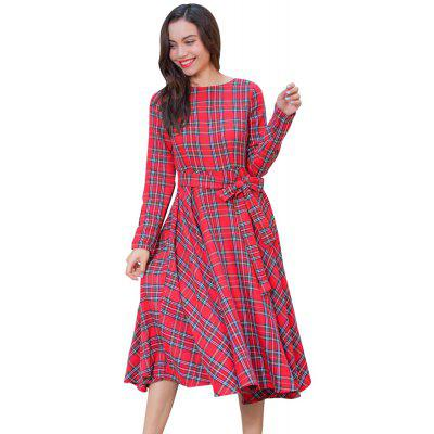 Buy AMERICAN BEAUTY M Hot Classic Checkered Long Sleeves Waist Pendants In The Paragraph Holiday Dress for $25.91 in GearBest store