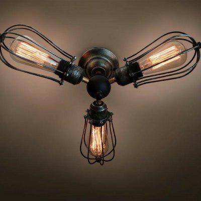 C3001 Mid Century Chandelier Vintage Industrial Cage Steampunk Kitchen Semi-Flush Mount Ceiling Light