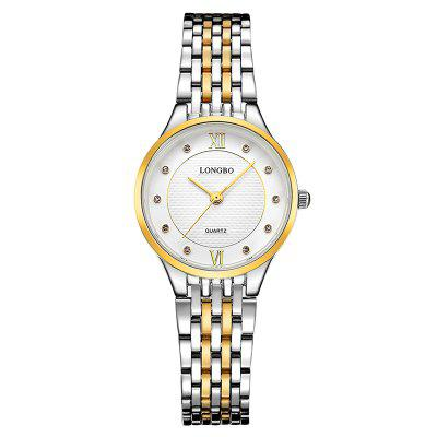 Buy SILVER AND GOLDEN FEMALE Longbo 80270 Fashionable Steel Band Women Watch for $9.85 in GearBest store