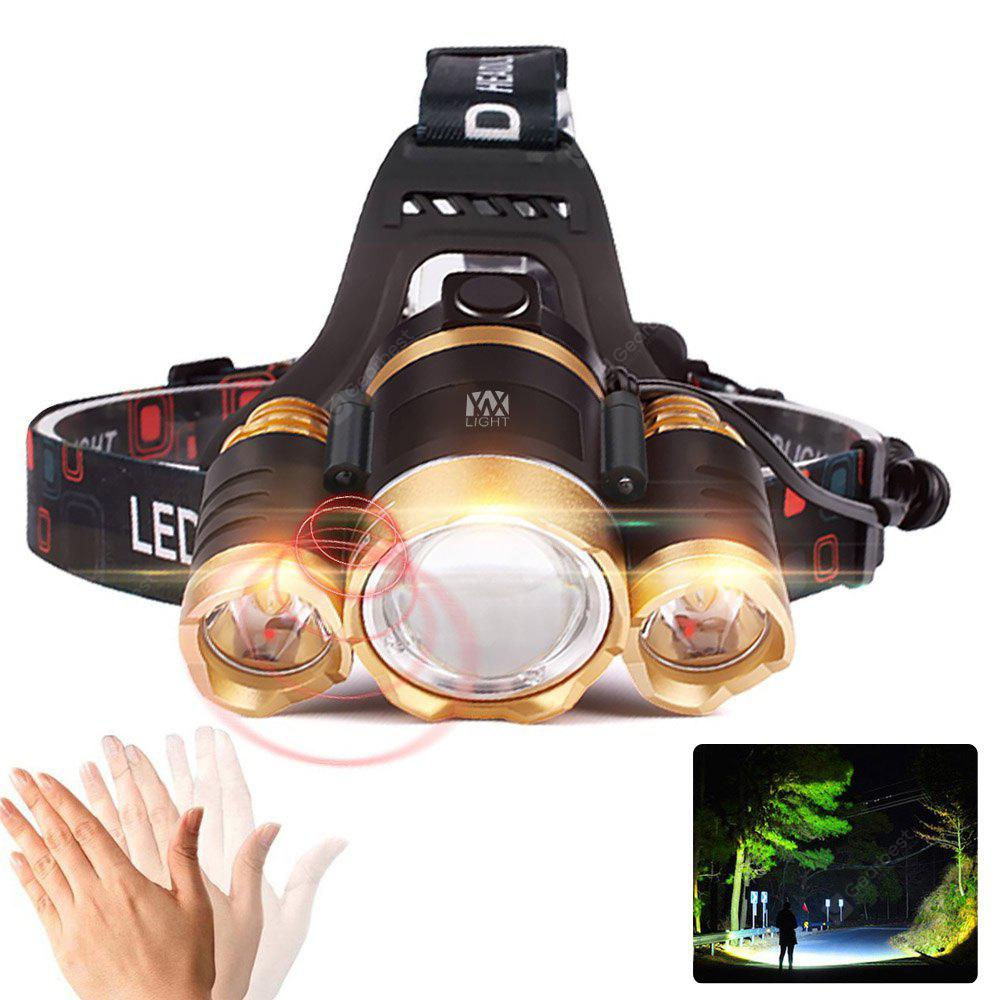 YWXLight XPE-T6 2000Lm White Light Telescopic Zoom Intelligent Induction LED Headlamp - BLACK AND GOLDEN