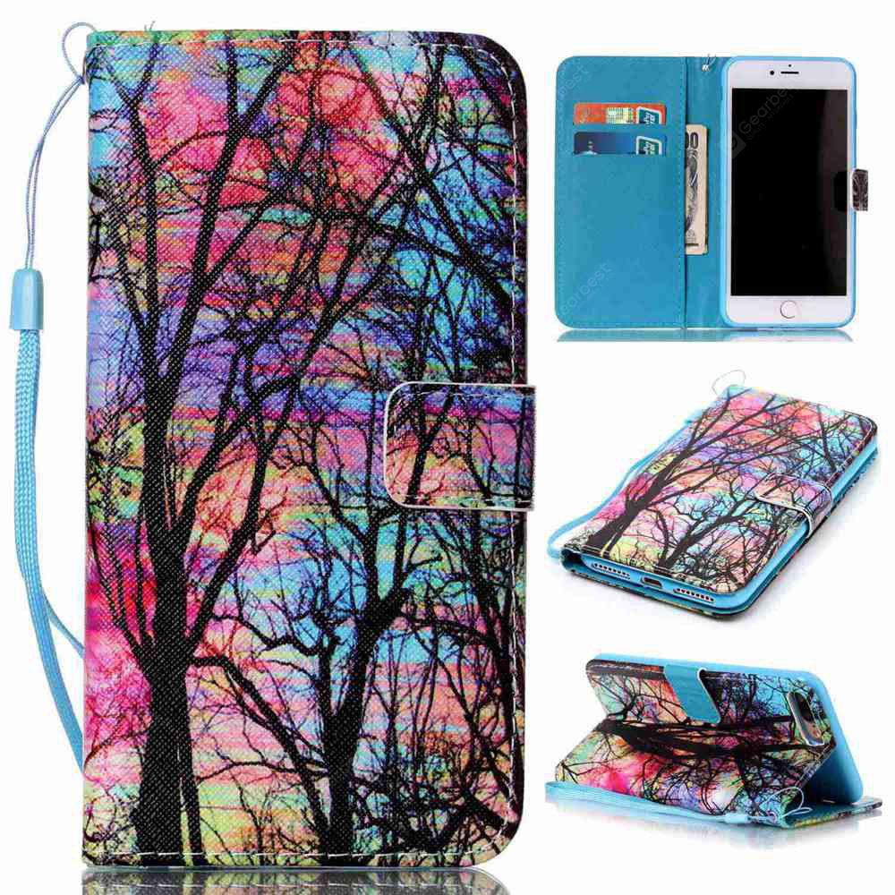 Colored Tree Painted PU Phone Case for Iphone 7 Plus / 8 Plus