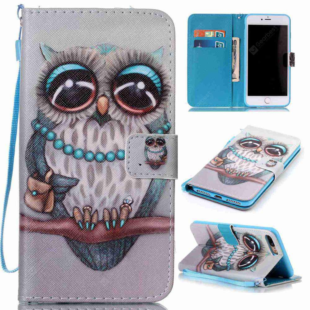 Gray Owl Painted PU Phone Case for Iphone 7 Plus / 8 Plus
