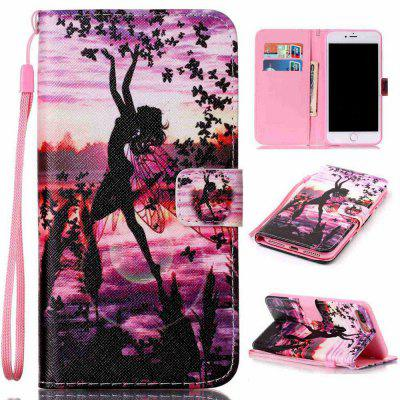 Butterfly Girl Painted PU Phone Case for Iphone 7 Plus / 8 Plus