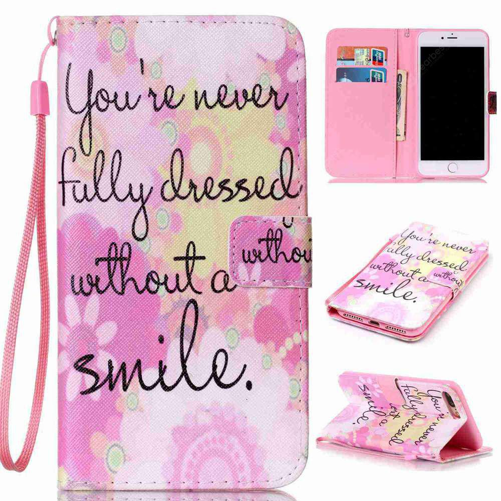 Pink Smile Painted PU Phone Case for Iphone 7 Plus / 8 Plus