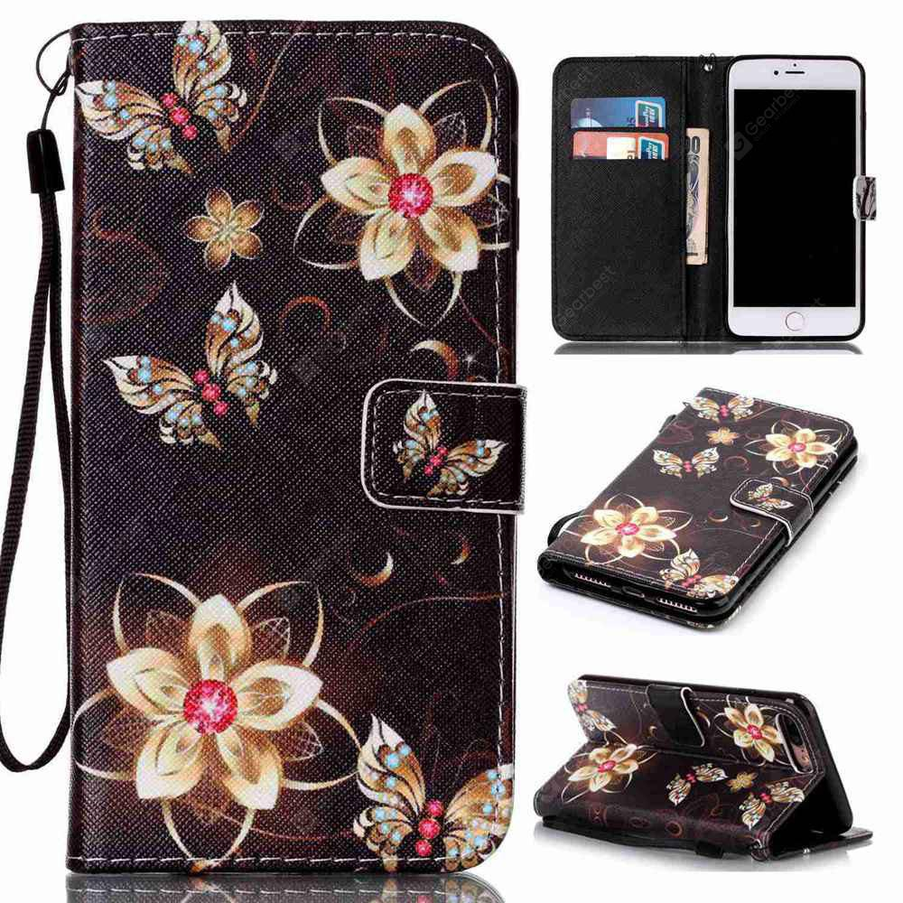 Golden Butterfly Painted PU Phone Case for Iphone 7 Plus / 8 Plus