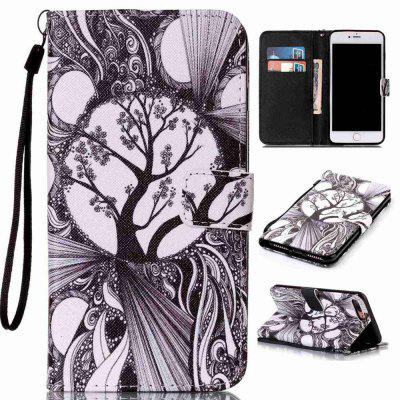 Black and White Trees Painted PU Phone Case for Iphone 7 Plus / 8 Plus