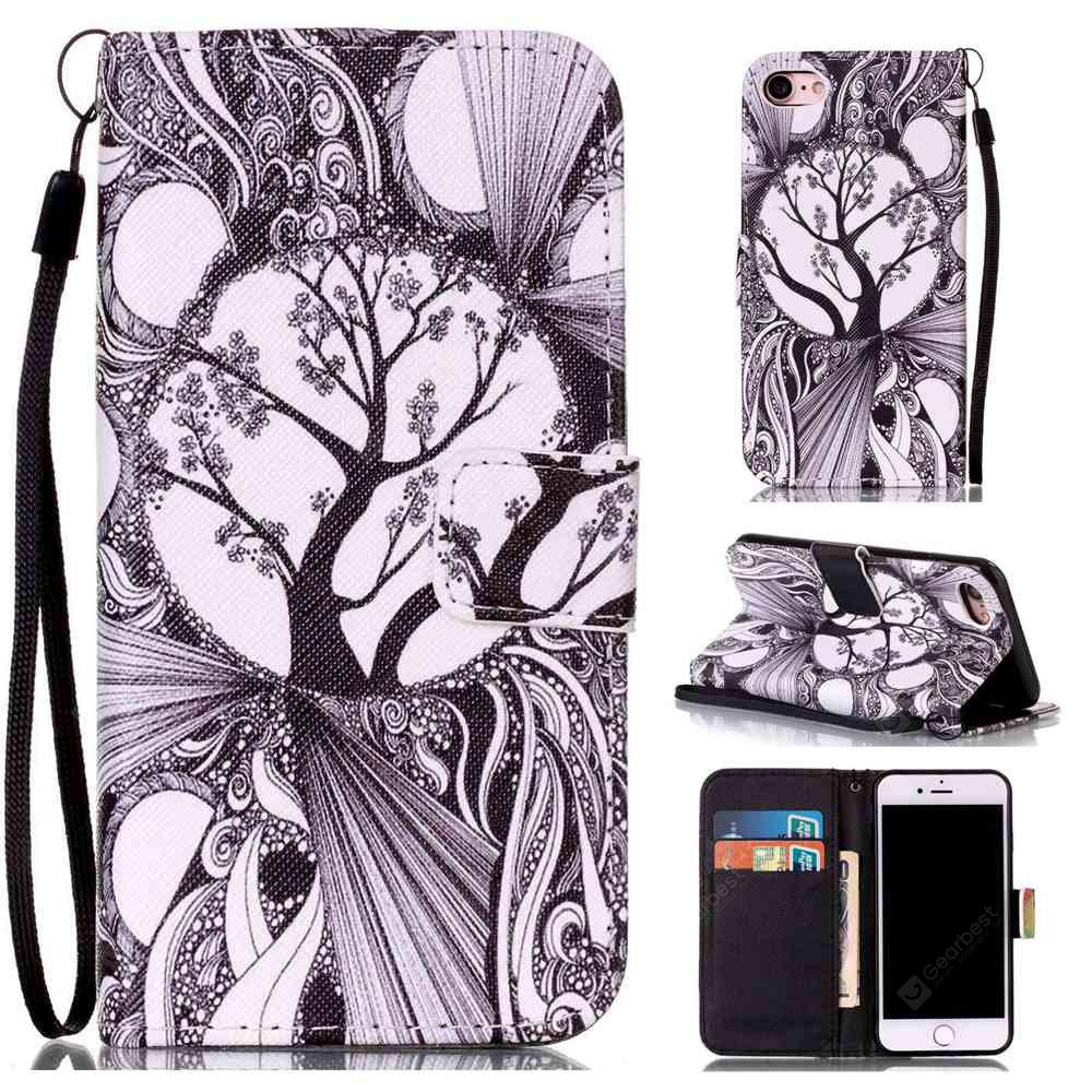 Black and White Trees Painted PU Phone Case for Iphone 7 / 8