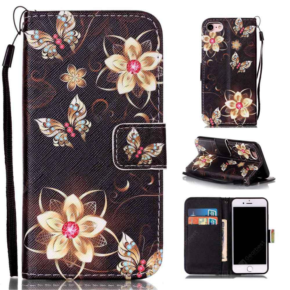 Golden Butterfly Painted PU Phone Case for Iphone 7 / 8