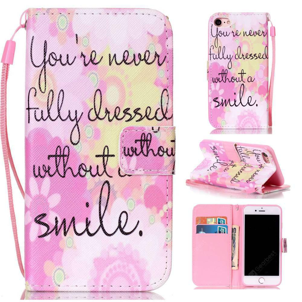 Pink Smile Painted PU Phone Case for Iphone 7 / 8