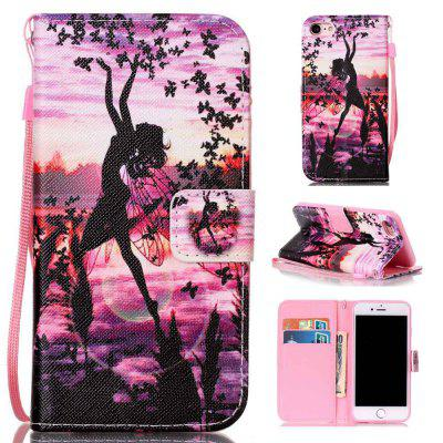 Butterfly Girl Painted PU Phone Case for Iphone 7 / 8