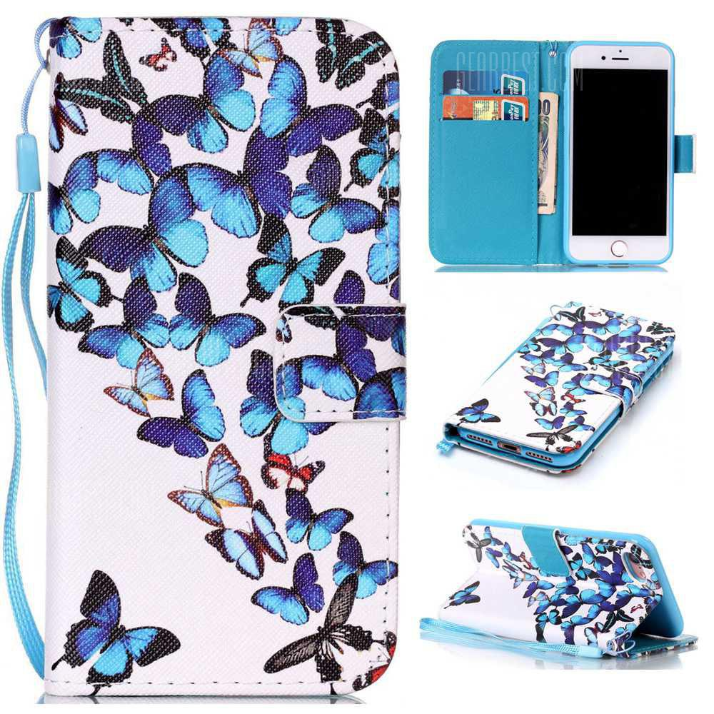 Group Butterfly Painted PU Phone Case for Iphone 7 / 8