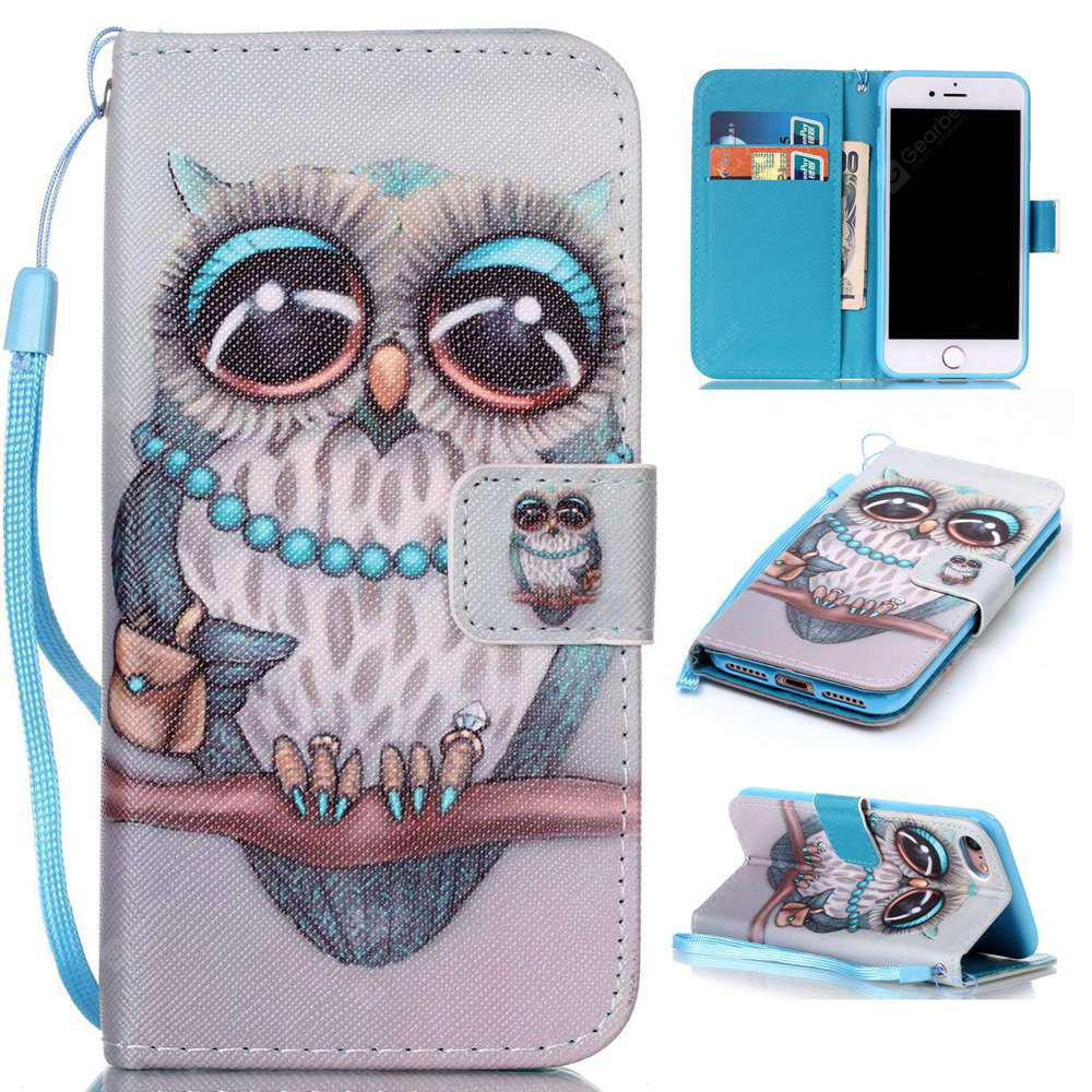 Gray Owl Painted PU Phone Case for Iphone 7 / 8
