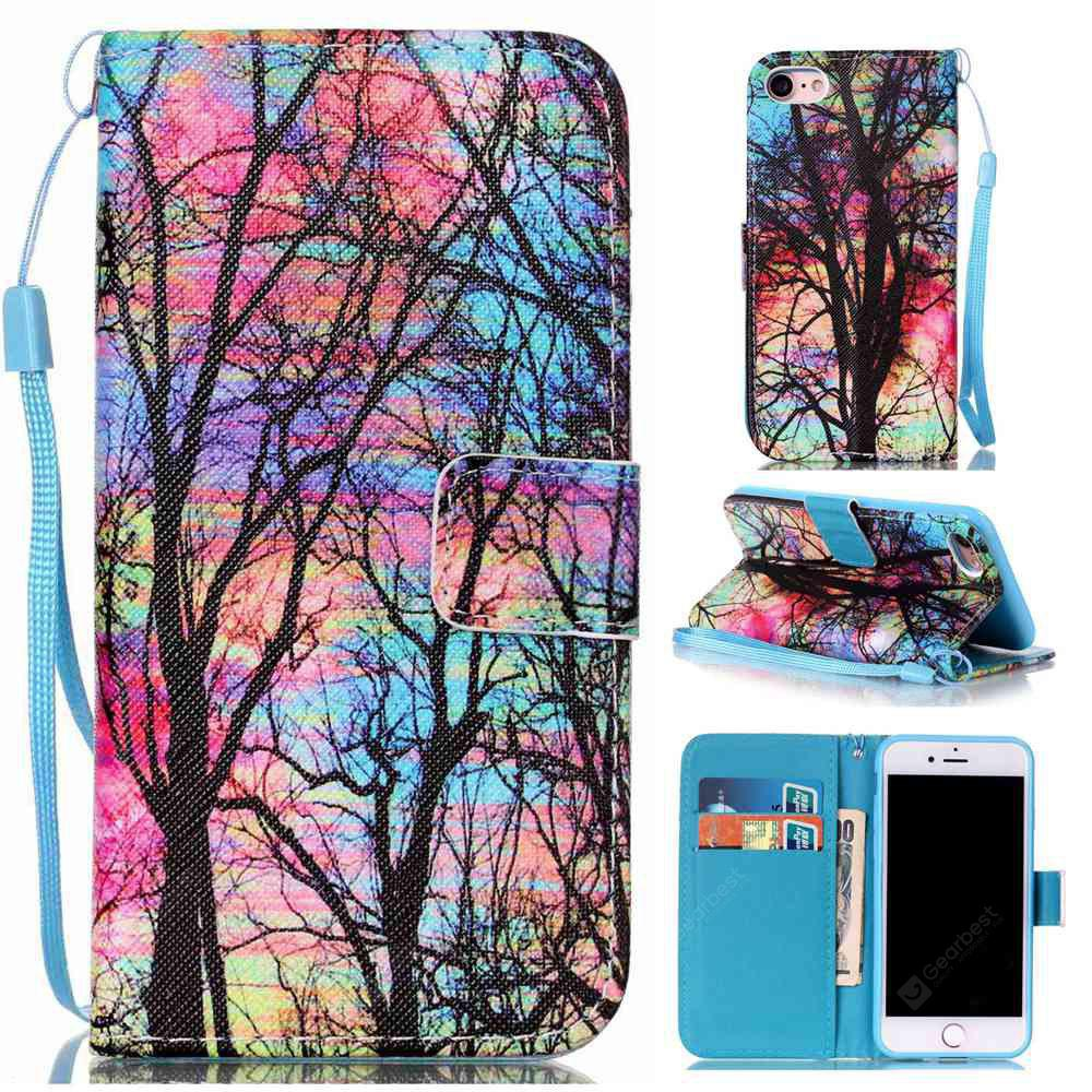 Colored Tree Painted PU Phone Case for Iphone 7 / 8