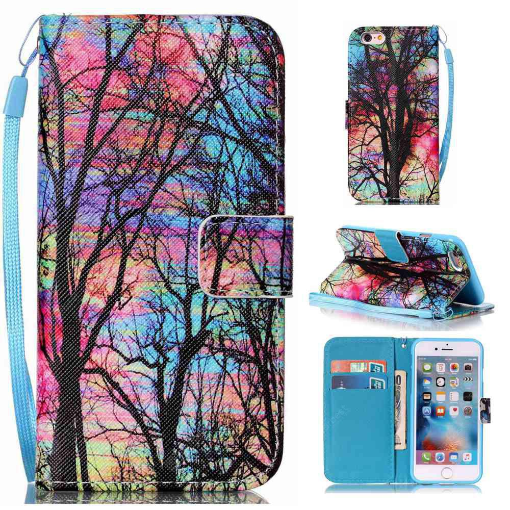 Colored Tree Painted PU Phone Case for iPhone 6 Plus / 6S Plus