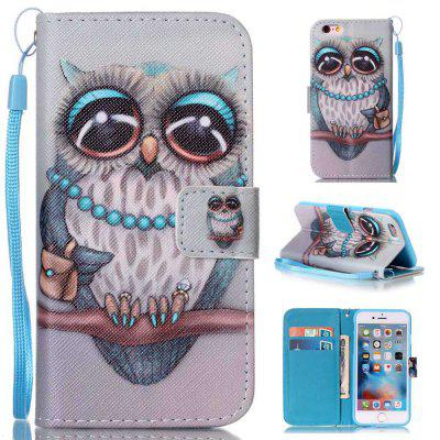Gray Owl Painted PU Phone Case for iPhone 6 Plus / 6S Plus