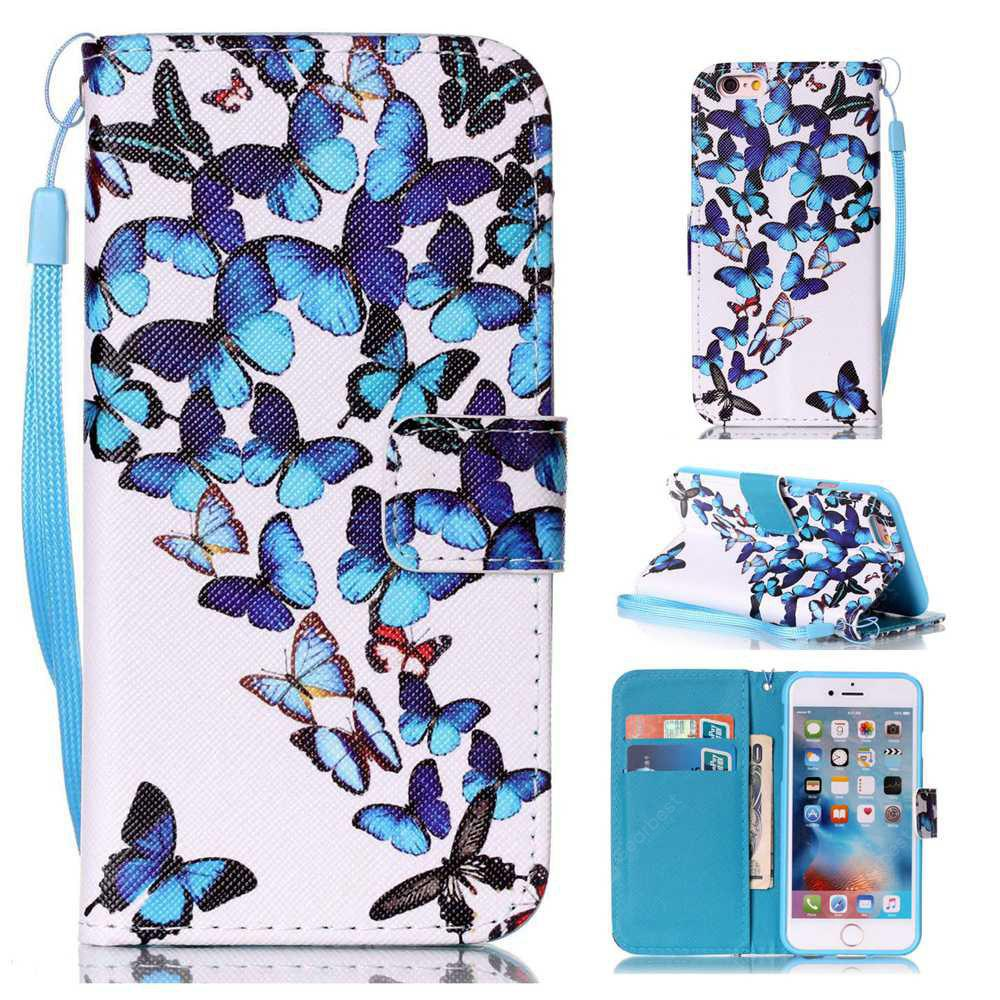 Group Butterfly Painted PU Phone Case for iPhone 6 Plus / 6S Plus