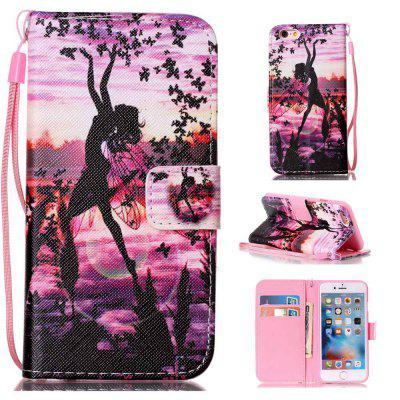 Butterfly Girl Painted PU Phone Case for iPhone 6 Plus / 6S Plus