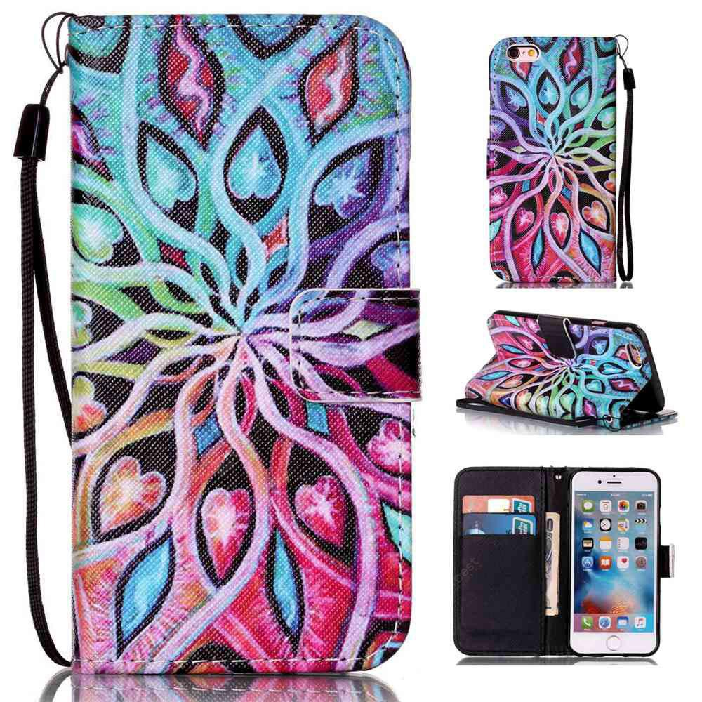 Spread Flowers Painted PU Phone Case for iPhone 6 Plus / 6S Plus