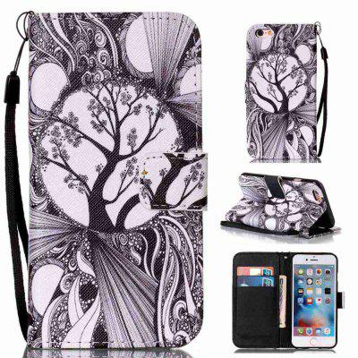 Black and White Trees Painted PU Phone Case for iPhone 6 / 6S