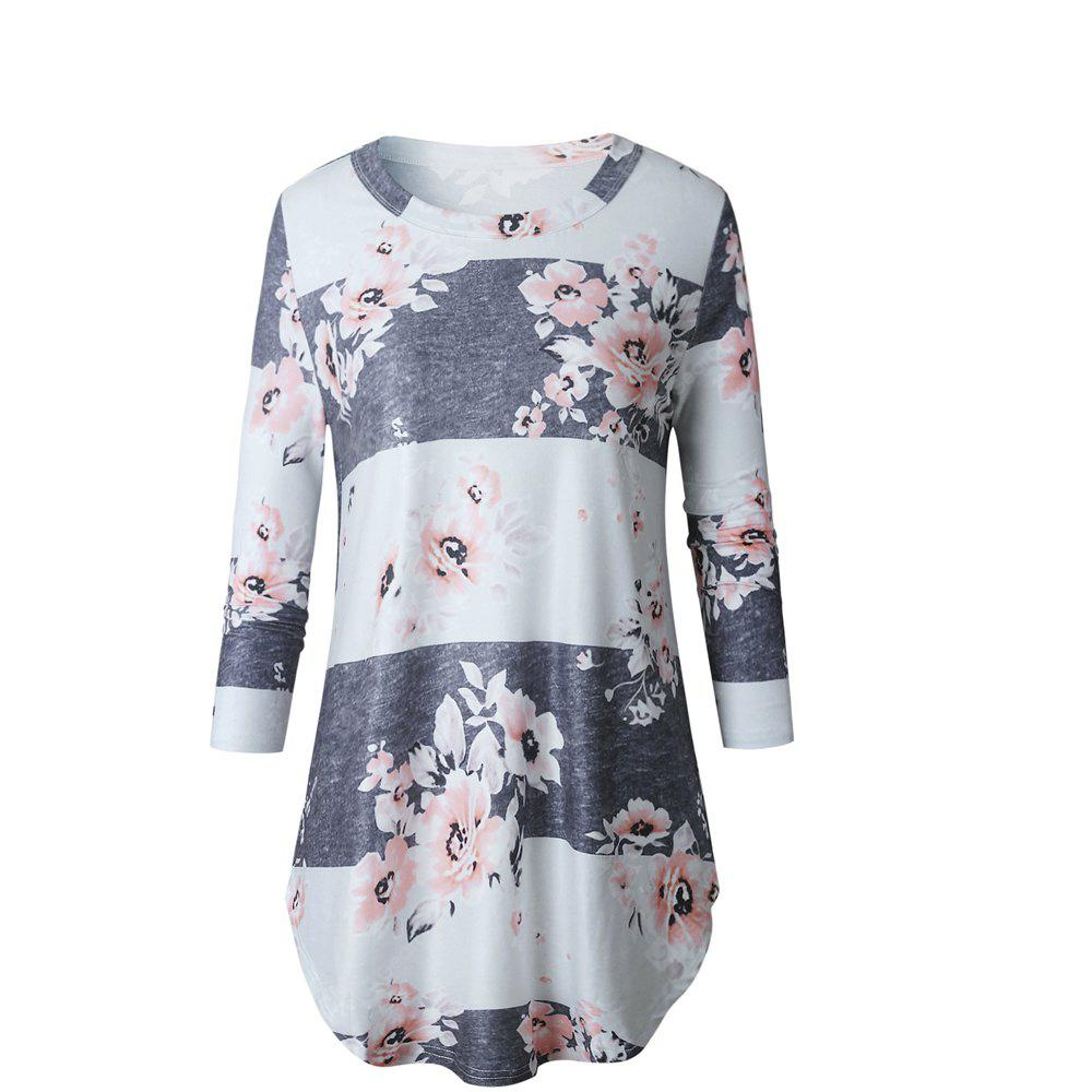 2017 New Autumn Long-Sleeved Floral Print Top T-Shirt
