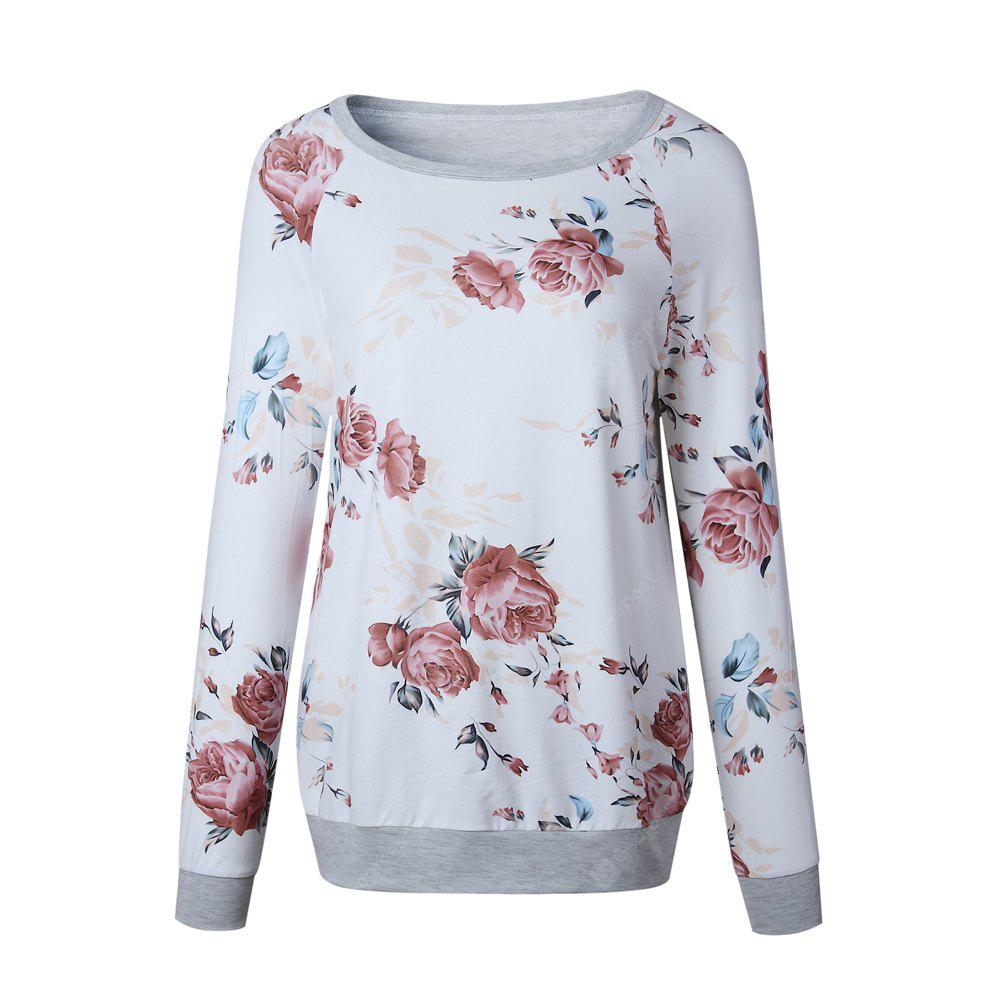 2017 New Autumn Long Sleeve Round Collar Simple Print Top