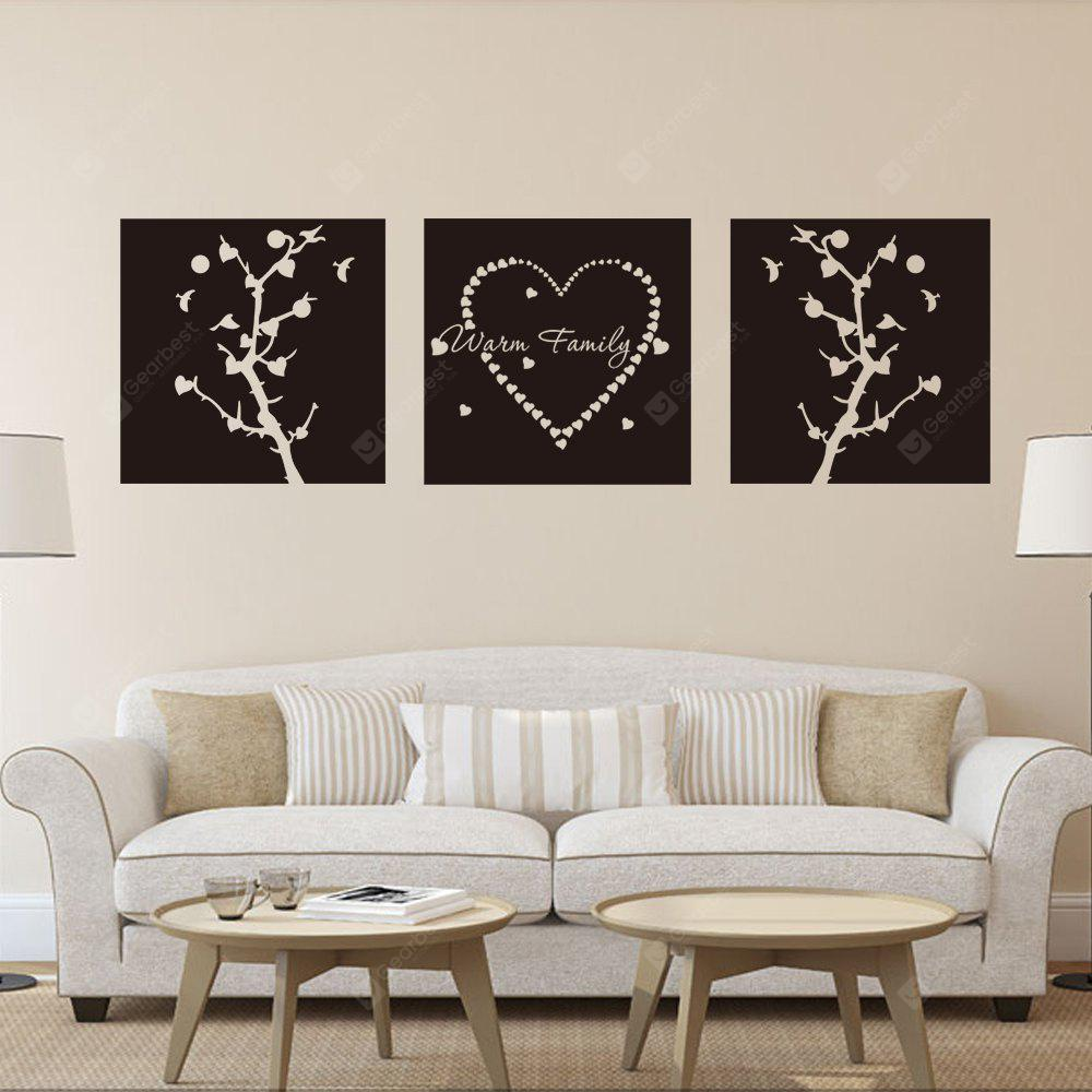 DSU Warn Family  and Trees Triple Painting Wall Sticker Decor 3PCS