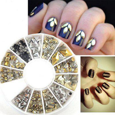 240PCS Nail Art Mixed Rivet Shapes Acrylic Rhinestone Nail Art Decorations