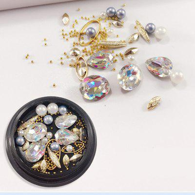 1 Box Decorative Big Color Intrigue Jewel Pearl Accessories Mixed Style  Nail Art Decoration 80PCS