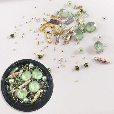 1 Box Decorative Big Dull Polish Green Jewel Pearl Accessories Mixed Style  Nail Art Decoration 80PCS