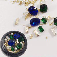 1 Box Decorative Sapphire Blue Big Jewel Pearl Accessories Mixed Style  Nail Art Decoration 80PCS