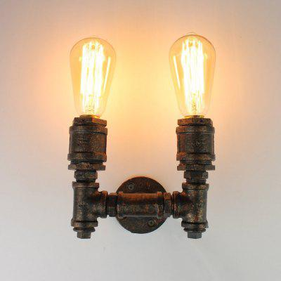 Buy MULTICOLOR Brightness Loft Retro Industrial Style Wall Sconce Restaurant And Bar Metal Water Pipe Wall lamp 2 Head for $58.54 in GearBest store