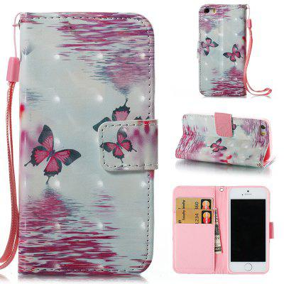 Buy PINK + WHITE Wkae 3D Stereo Painted Leather Case Cover for IPhone SE for $4.62 in GearBest store