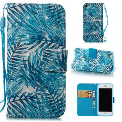 Buy BLUE Wkae 3D Stereo Painted Leather Case Cover for IPhone SE for $4.62 in GearBest store
