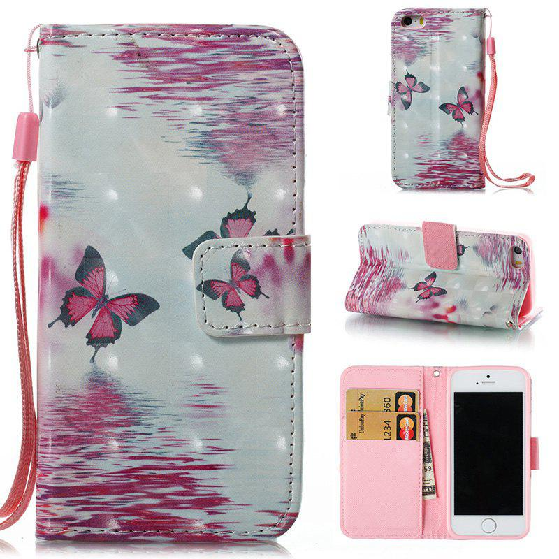 PINK + WHITE Wkae 3D Stereo Painted Leather Case Cover for IPhone SE