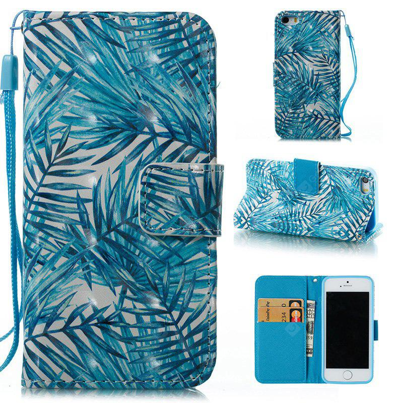 BLUE Wkae 3D Stereo Painted Leather Case Cover for IPhone SE