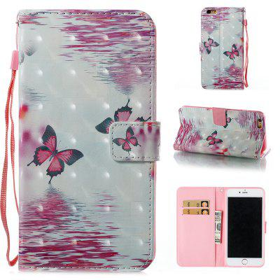 Buy PINK + WHITE Wkae 3D Stereo Painted Leather Case for iPhone 6 Plus / 6S Plus for $4.62 in GearBest store
