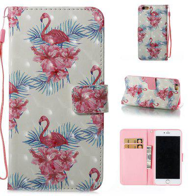 Buy WHITE + PINK + BLUE Wkae 3D Stereo Painted Leather Case for iPhone 6 Plus / 6S Plus for $4.62 in GearBest store
