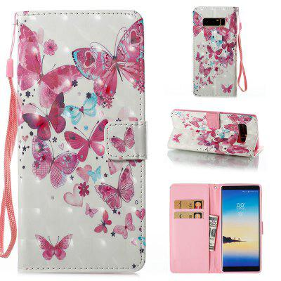 Wkae 3D Effect Painted Leather Case Cover for Samsung Galaxy Note 8